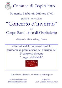Concerto d'Inverno a Ospitaletto http://www.panesalamina.com/2013/8234-concerto-dinverno-a-ospitaletto.html