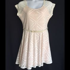 FINAL PRICELace Belted Dress Pink lined, women's size Dresses