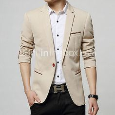 Men's Solid Casual / Work Blazer,Cotton / Acrylic / Nylon Long Sleeve Black / Blue / Red / Beige 916304 - USD $27.99 ! HOT Product! A hot product at an incredible low price is now on sale! Come check it out along with other items like this. Get great discounts, earn Rewards and much more each time you shop with us!