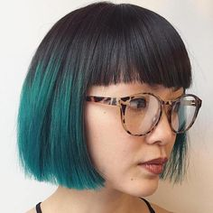 Black And Teal Blunt Bob
