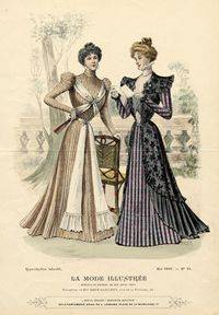 "I love fashion plates! ""This fashion plate is a good example of late Nineties style. The large sleeves have deflated to small puffs on the shoulder, with the rest of the sleeve being fitted. Hair is worn in the ""Gibson Girl"" style, puffed around the face and pulled into a pompadour."""