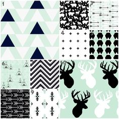 Mod Mint (Custom Crib Set) Baby Bedding, Crib Bedding, Mint, Black and White, Outdoor, Deer, Triangle, Aztec, Tribal, Teepee, Fox Nursery by modifiedtot on Etsy https://www.etsy.com/listing/216875887/mod-mint-custom-crib-set-baby-bedding