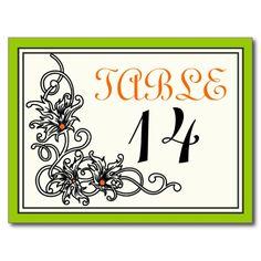 Flourish vine green orange wedding table number postcard