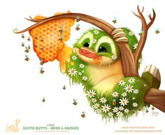Daily+Paint+1756#+Sloth+Butts+-+Bees+and+Daisies+by+Cryptid-Creations.deviantart.com+on+@DeviantArt