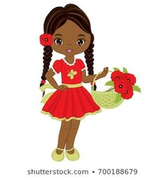 Vector cute little African American girl with basket of poppy flowers. Vector little girl with poppies. Little girl vector illustration Cute Girls, Little Girls, Chocolate Babies, African American Girl, Bottle Cap Images, Kids Pillows, Anime Comics, Shoe Box, Paper Dolls