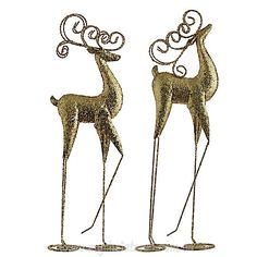 Gold Deer Standing Christmas Ornament | My Christmas $109.95 AUD http://www.mychristmas.com.au/shop-by-supplier/raz-imports/standing-deer-ornament