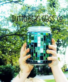 Green Stained Glass Candle Holder RECYCLED by ButterBeanGlassCo, $24.99