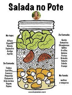 A salada no pote tá super na moda aqui e nos Estados Unidos! É uma maneira de facilitar a nossa vida saudável que às vezes é bem corrida, né! Como fazer salada no pote - Blog da Mimis - A ideia é preparar de uma vez as saladas que serão consumidas durante a semana, deixando o dia a dia mais prático. :)