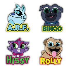 Puppy Dog Pals Cartoon Set Of 4 Vinyl Sticker Decal - longer side Wall Stickers Grass, Wall Decal Sticker, 5th Birthday, Birthday Parties, Happy Birthday, Vinyl Art, Vinyl Decals, Photo Booth Frame, Family Tree Wall Decal