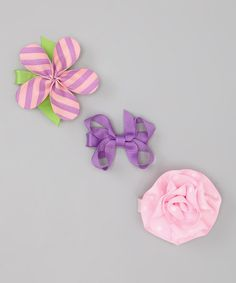 Take a look at this Purple & Pink Flower Lilly Clip Set by Ribbies Clippies & Hot Focus on #zulily today!