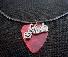 Motorcycle Charm on Red MOP Guitar Pick and Black Leather Cord Necklace by ItsYourPick on Etsy