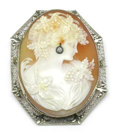 Diamond 14k Yellow Gold Carved Shell Cameo Pin/ Pendant | New York Estate Jewelry | Israel Rose
