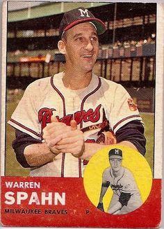 Warren Spahn baseball card. Milwaukee Braves. #HallOfFame pitcher