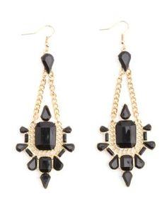 baroque faceted stone chandelier earrings