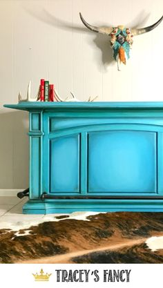 Cowboy Grunge Painted Turquoise Bar