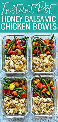 nstant Pot Honey Balsamic Chicken is the perfect meal prep recipe and a delicious way to pressure cook chicken breasts. Serve this healthy Instant Pot recipe with roasted vegetables for a full meal! nstant Pot Honey Balsamic Chicken is the perfect Lunch Meal Prep, Meal Prep Bowls, Healthy Meal Prep, Meal Prep Menu, Healthy One Pot Meals, Healthy Chicken Recipes, Cooking Recipes, Meal Prep Recipes, Keto Recipes