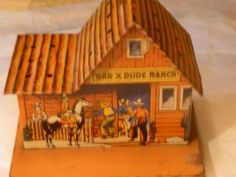 1940's Vintage TIN LITHO SMALL COIN BANK BAR X DUDE RANCH