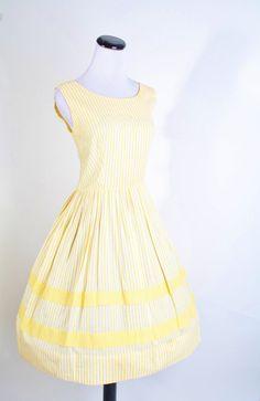 1950s Cotton Yellow Day Dress  Short Summer Dress  by aiseirigh, $112.00