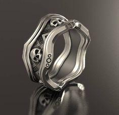 Skull wedding ring Alien ring geek wedding ring sci fi