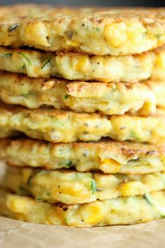 """Zucchini Corn Pancakes - Super easy pancakes perfect as a side dish or appetizer. And best of all, they don't even taste """"healthy""""! Prep and cook time is about 25 minutes. Veggie Dishes, Veggie Recipes, Side Dishes, Vegetarian Recipes, Cooking Recipes, Vegetable Entrees, Vegetable Ideas, Pancake Recipes, Avocado Recipes"""