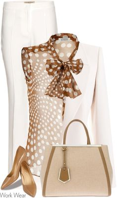Fashion - Work Outfit (blouse, blazer, trousers, handbag, shoes)