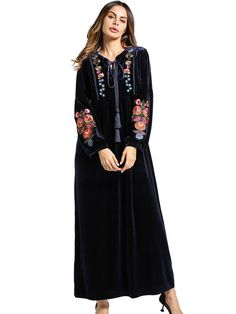 Laceshe Women s Plus Size Velvet Embroidered Dress cafdd141e121
