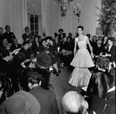 Opening of a Christian Dior Fashion Show, 1947 - photo by Pat English