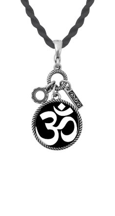 Charmed pendant, Om Symbol White with Black Background (Custom Insert), Satin Rope Necklace. Interchangeable, Magnetic Jewelry. Magnabilities.