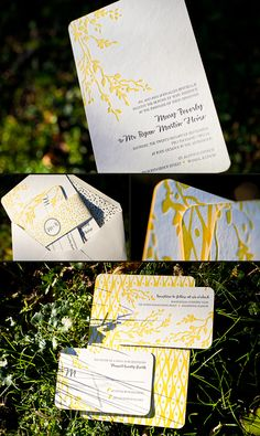 sunny #yellow letterpress suite by @Smock Paper #invitation