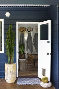 Jamie's beach house renovation:A charcoal exterior and sun-bleached interior is the perfect combination of beach and chic. Coastal Cottage, Cottage Style, Beach House Decor, House Exterior, Cottage Decor, Exterior House Colors, House Styles, Beach Cottage Style, Entryway