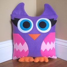 Owl Pillow from 3 Silly Monkeys on Etsy.  14x14 pillow made from soft fleece.  $20.00