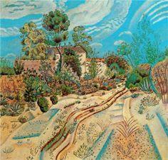 Joan Miro (1893 - 1983) | Naïve Art (Primitivism) |  The Waggon Tracks - 1918