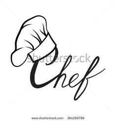 Cook hat. Drawn hat chef cook. Hat chef-cooker. Vector black hat chef cook on a white background - stock vector