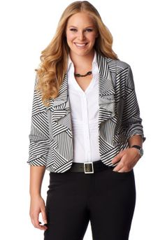 Top off your look in the totally mod style of this trendy, no-closure jacket. It features a bold black-and-white print, as well as rouched sleeves and a ruffled lapel. Shoulder pads add subtle structure to the silhouette.