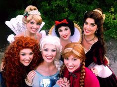 Cinderella, Snow White, Belle (Beauty and the Beast), Merida (Brave), Elsa, and Anna (Frozen). (Princesses)