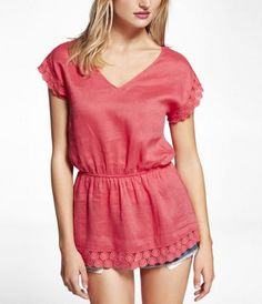 CROCHET EMBELLISHED LINEN TUNIC TOP at Express