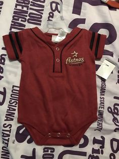 Houston Astros Infant One Piece Outfit.  Size 0-3 Months.  NWOT #HoustonAstros