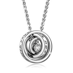 """Pauline & Morgen """"Mom, I love you. Always be with you"""" Engraved 3 Ring Crystal Women Necklace - The Ultimate Shopping Portal"""