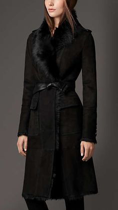 Reverse Collar Shearling Coat