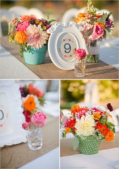 mix and match table flowers are really pretty - I like the small glass bottles as well, im not keen on the coloured flower pots. Love the table number picture frames too! Wedding Events, Our Wedding, Dream Wedding, Weddings, Wedding Table, Rustic Wedding, Wedding Bouquets, Wedding Flowers, Wedding Dress