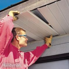 Wrap the soffits and fascia roof parts on your home with prefinished aluminum and you'll never have to scrape, prime or paint those roof edges again. Home Renovation, Home Remodeling, Bathroom Remodeling, Retro Renovation, Remodeling Contractors, Roof Soffits, Roof Edge, Roof Top, Home Fix