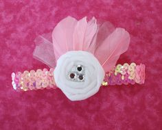 "Today I am going to teach you how to make this fabulous rolled tulle rosette headband. I think this looks very 20's flapper chic, don't you? You will need: Tulle (I used about a yard length, and this is 6"" wide) Sequin Headbands Two Felt Circles (I freehand cut these at about 2"" diameter, we have"