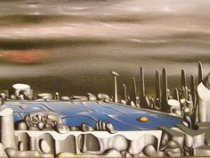 yves tanguy paintings - Yves Tanguy, From Green to White, 1954 Peggy Guggenheim, Pastel Pencils, Surrealism Painting, Fantastic Art, Surreal Art, Watercolor Paintings, Gallery, Drawings, Sage