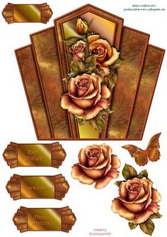 """Copper Roses Art Deco Topper on Craftsuprint designed by Robyn Cockburn - An art deco shaped topper with decoupage and greeting labels. Measures approx. 7.1"""" x 6.4"""".A matching background sheet is available for this design. Just click on my name to view. - Now available for download!"""