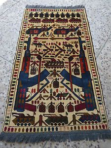 Handmade Afghan War Rug Image Inventory Of Military Items 136 X 80 Cm Ebay