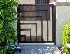 Modern inspired wrought iron gate