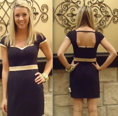Cute cap-sleeved black dress with gold detailing! $59