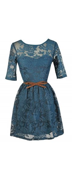 Teal Swoon Bow Belt Teal Lace Dress
