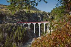 The Bernina Express with its observation cars takes you along the Albula and Bernina Lines through the UNESCO World Heritage RhB – from Chur to Tirano. Chur, Bernina Express, Swiss Railways, Bahn, Travel Info, Travel Inspiration, Places To Go, World, Bridges