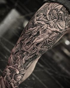 Die Renaissance im Jun Cha Tattoo funktioniert - Tattoo - Religion Religious Tattoo Sleeves, Religious Tattoos, Christ Tattoo, Jesus Tattoo, Arm Sleeve Tattoos, Leg Tattoos, Dope Tattoos, Tattoos For Guys, Juncha Tattoo